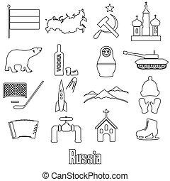 rusko, země, námět, nárys, symbol, ikona, dát, eps10