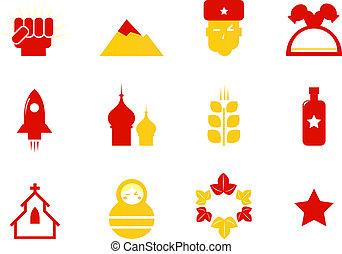 rusland, iconen, &, communist, stereotypen, vrijstaand, op wit