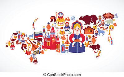 rusland kaart, met, vector, iconen