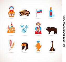 rusland, liefde, -, hart, met, vector, iconen
