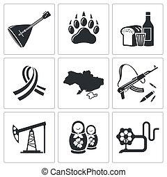 rusland, verzameling, pictogram