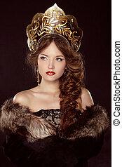 ruso, beauty., atractivo, hembra, llevando, en, kokoshnik., mujer, tocado, en, viejo, rusia