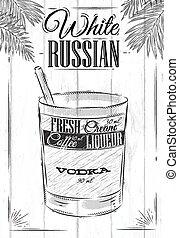 ruso, blanco, cóctel
