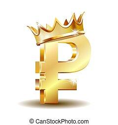 ruso, dorado, símbolo, corona, rublo