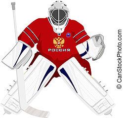 ruso, equipo, portero, hockey