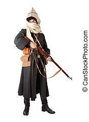 ruso, hombre, rifle., cossack, disfraz, vendimia