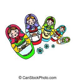 ruso, matrioshka, muñeca