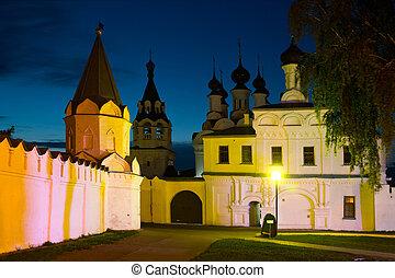 ruso, noche, monasterio, tiro