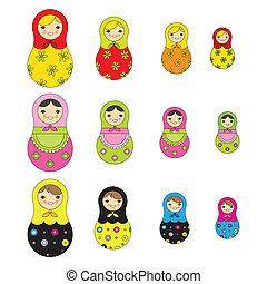 ruso, patrón, muñeca