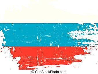 ruso, rasguñado, bandera