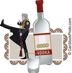 ruso, soldado, vodka