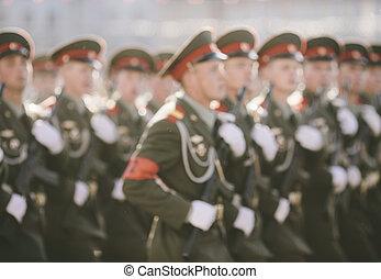 ruso, soldados, en, el, desfile