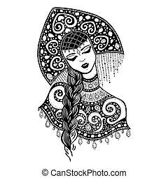 ruso, tradicional, niña, belleza