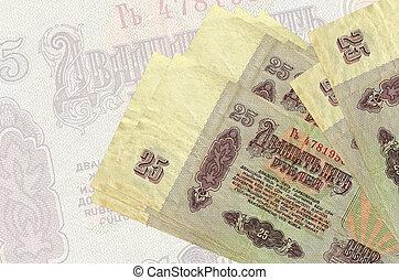 russe, 25, mensonges, fond, rubles, semi-transparent, résumé, factures, pile, national, monnaie, grand, présentation, billet banque.