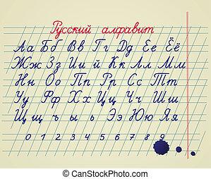 russe, alphabet, ensemble