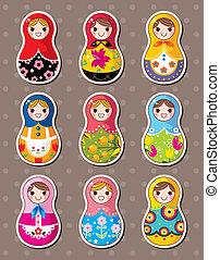 russe, autocollants, poupées