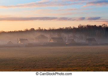 russe, brumeux, typiquement, paysage, matin