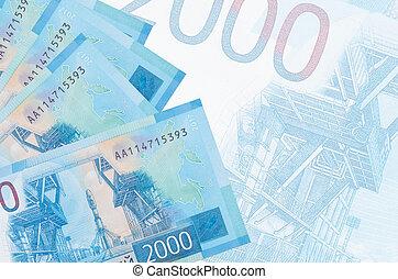 russe, business, mensonges, fond, rubles, semi-transparent, résumé, 2000, factures, pile, grand, billet banque.