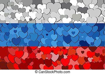 russe, cœurs, drapeau, fait, fond