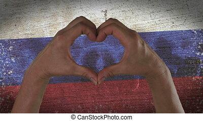 russe, coeur, symbole, drapeau, mains