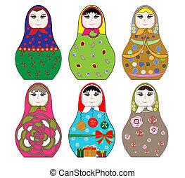 russe, collection, coloré, poupée
