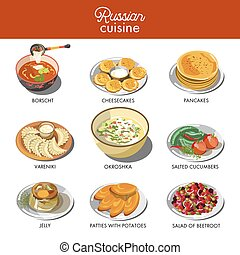 russe, cuisine, nourriture, traditionnel, plats