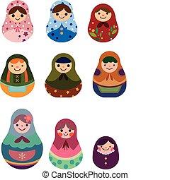 russe, dessin animé, poupées