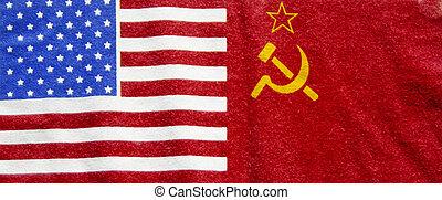 russe, drapeau américain