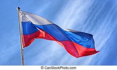 russe, drapeau ondulant, défavorable