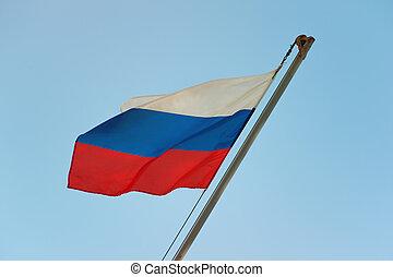 russe, drapeau ondulant, wind.