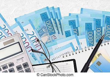 russe, factures, rubles, solutions., calculatrice, financier, comptable, ou, investissement, lunettes, paiement, paperasserie, planification, 2000, pen., impôt, concept