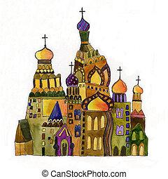 russe, fond blanc, église