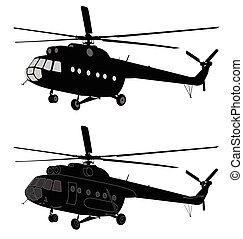 russe, hélicoptère, silhouette, mi-8