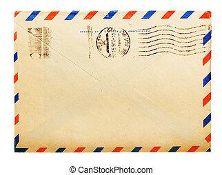 russe, isolé, côté, mètre, enveloppe, dos, timbres, vendange...