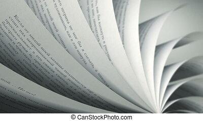russe, (loop), livre, tourner, pages