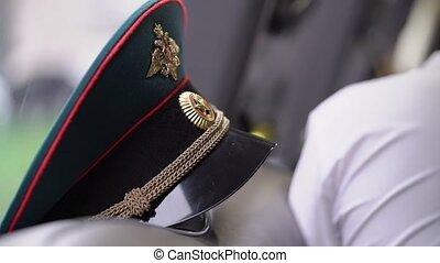 russe, officer's, casquette, armée