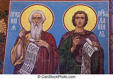 russe, petersburg, saint, sauveur, orthodoxe, mosaïque, église, icône