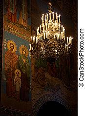 russe, petersburg, saint, sauveur, orthodoxe, mosaïques, lustre, église