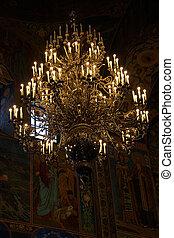russe, petersburg, temple, saint, orthodoxe, sauveur, église, lustre