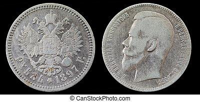 russe, rubl, monnaie, 1, vieux, argent, 1897