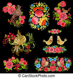 russe, style, ensemble, fleurs, oiseaux