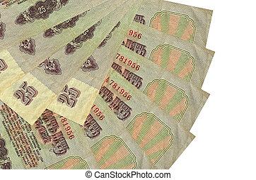 russe, ventilateur, 25, fin, mensonges, isolé, fond, copie, rubles, espace, empilé, forme, factures, haut, blanc