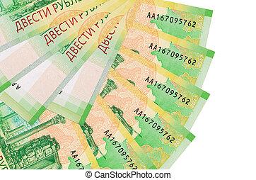 russe, ventilateur, fin, mensonges, isolé, fond, copie, rubles, 200, espace, empilé, forme, factures, haut, blanc