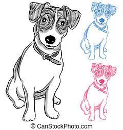 russell, terrier irlandais, chien, cric