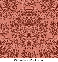 Russet brown arabesque paisley background. Seamless retro ...