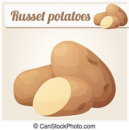 Russet potatoes. Detailed Vector Icon. Series of food and...