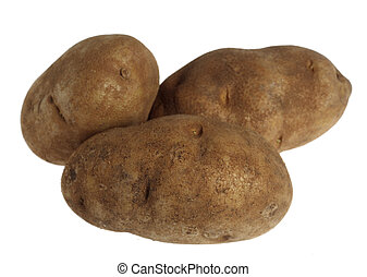 Three russet potatoes over a white background