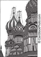 russia., モスクワ, ドーム, 大聖堂, pokrovsky