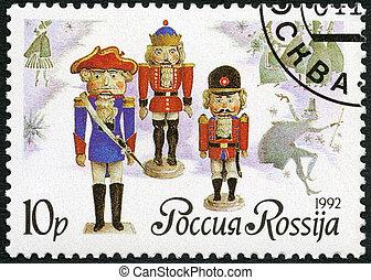 RUSSIA - 1992: shows German dolls-nutckrackers, series Russian b