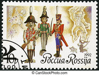 RUSSIA - 1992: shows Russian dolls-nutckrackers, series Russian